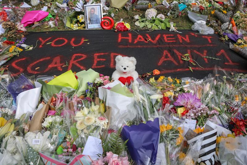"A message to the attackers reads ""you haven't scared anyone' to pay respect to the 50 victims of the mosques terror attacks in Christchurch New Zealand in May 2019. (Photo: Adam Bradley/SOPA Images/LightRocket via Getty Images)"