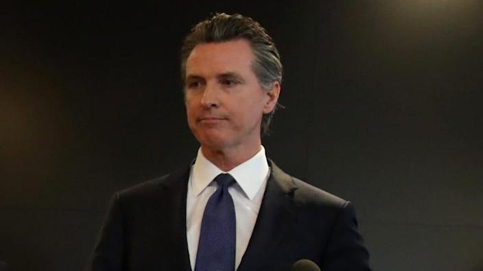 California Gov. Gavin Newsom is shown at a public update about the state's response to the coronavirus back in February, a day after a possible first case of person-to-person transmission was reported in Northern California. (Photo by Justin Sullivan/Getty Images)