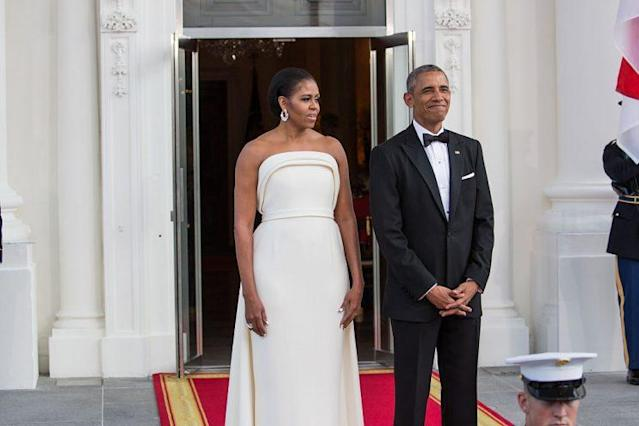 Michelle Obama in Brandon Maxwell at a state dinner in August 2016 (Photo: Getty Images)