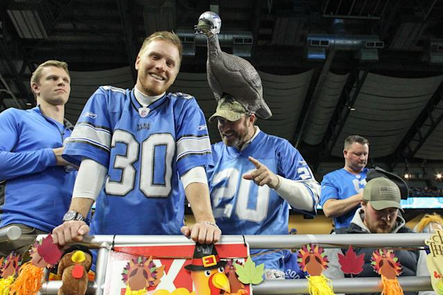 "Never fear, turkey hat-wearing Lions and <a class=""link rapid-noclick-resp"" href=""/nfl/teams/dallas/"" data-ylk=""slk:Cowboys"">Cowboys</a> fans. The Eagles withdrew their proposal to alternate home games between Dallas and Detroit for Thanksgiving games. (Photo by Scott W. Grau/Icon Sportswire via Getty Images)"