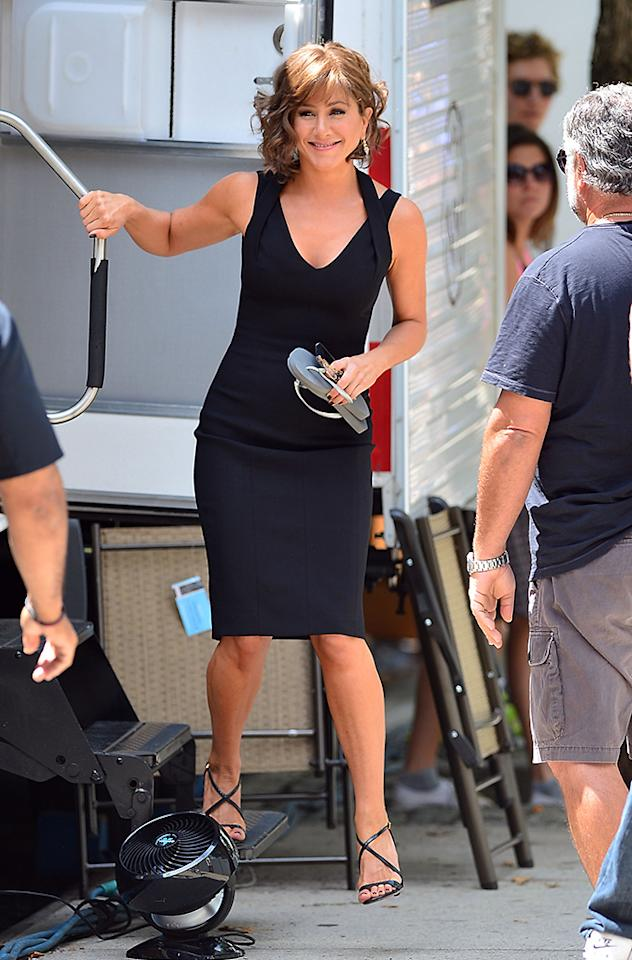 """NEW YORK, NY - JULY 23:  Jennifer Aniston seen on the set of """"Squirrels to the Nuts"""" on July 23, 2013 in New York City.  (Photo by James Devaney/WireImage)"""