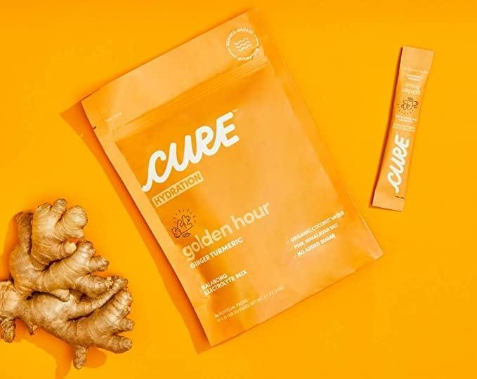 <p>Whether you need a refreshing boost of hydration or need to handle a hangover, the <span>Cure Hydration Mix Organic Electrolyte Powder Pack of 14 (Ginger Turmeric)</span> ($20) has got your back.</p>