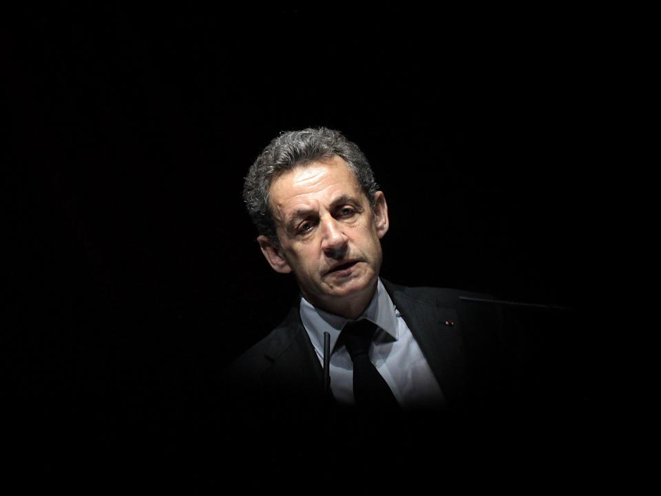 Former French President Nicolas Sarkozy delivers a speech during a political meeting on 22 April, 2015 in Nice, France (AFP via Getty Images)