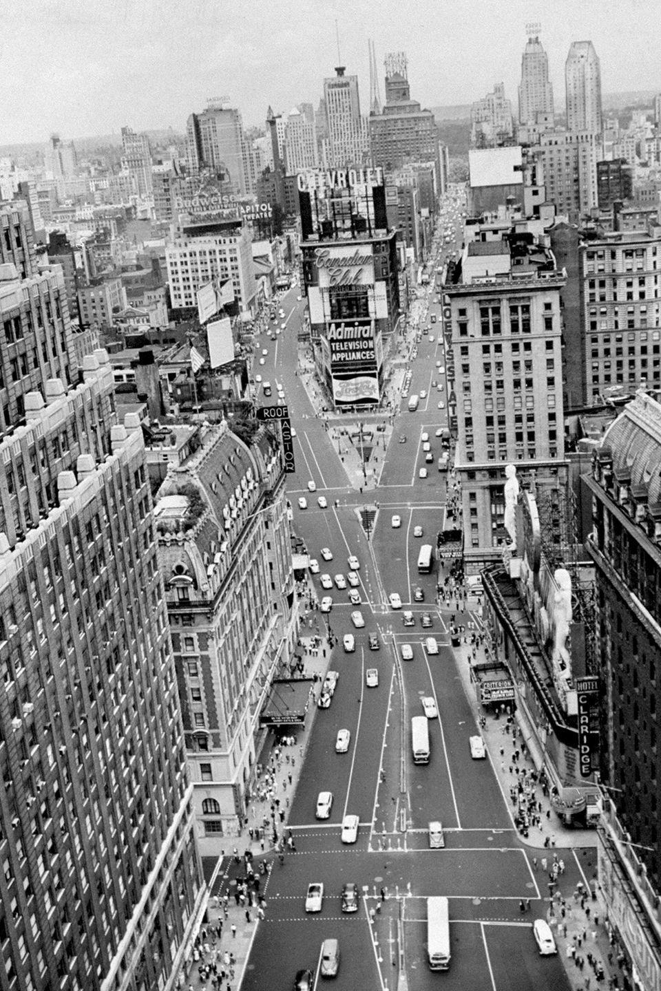 <p>A sky-high view of Times Square looking north from 43d St.</p>