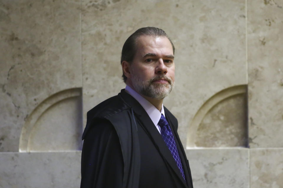 Brazilian lawyer Jose Antonio Dias Toffoli, president of the Supreme Court of Brazil, looks on before a session to decide on whether to overturn a law requiring convicted criminals to go to jail after losing their first appeal, in Brasilia, on November 7, 2019. - The case could have implications for jailed ex-president Luiz Inacio Lula da Silva. A favorable ruling could result in the release of scores of convicts, among them Lula, a former leftist leader who is serving eight years and 10 months for corruption. (Photo by Sergio LIMA / AFP) (Photo by SERGIO LIMA/AFP via Getty Images)