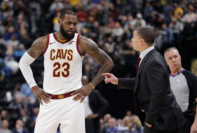 Tyronn Lue coached LeBron James with the Cleveland Cavaliers. (AP Photo/Darron Cummings)