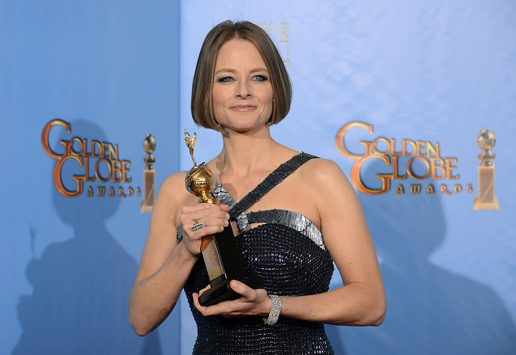 Jodie Foster, recipient of the Cecil B. Demille Award, poses in the press room at the 70th Annual Golden Globe Awards held at the Beverly Hilton Hotel on January 13, 2013.  (Photo by Kevork Djansezian/NBC/NBC via Getty Images)