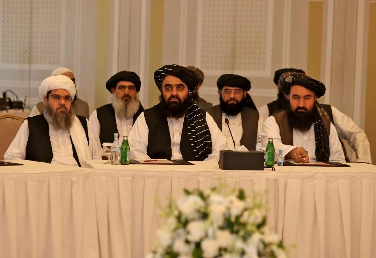 The Taliban delegation sits down for talks in Qatar with EU and US envoys as the hardline Islamists pursue their push for international recognition and support (AFP/KARIM JAAFAR)