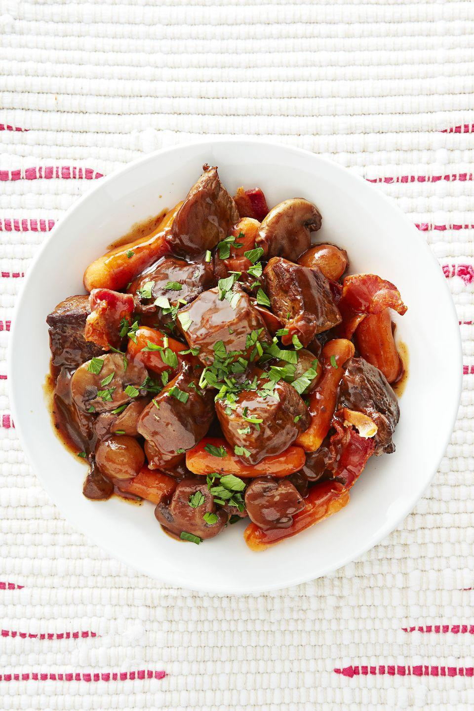 "<p>Loaded with tender beef, savory mushrooms, and an indulgent red wine sauce, this classic dish is really all anyone could want on a chilly winter night.</p><p><a href=""https://www.goodhousekeeping.com/food-recipes/a16383/beef-mushroom-burgundy-recipe-ghk1214/"" rel=""nofollow noopener"" target=""_blank"" data-ylk=""slk:Get the recipe for Beef and Mushroom Burgundy »"" class=""link rapid-noclick-resp""><em>Get the recipe for Beef and Mushroom Burgundy »</em></a> </p>"