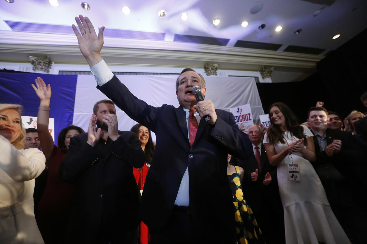 Republican Sen. Ted Cruz addresses supporters at his midterm election night party in Houston on Tuesday. (Photo: Cathal Mcnaughton/Reuters)