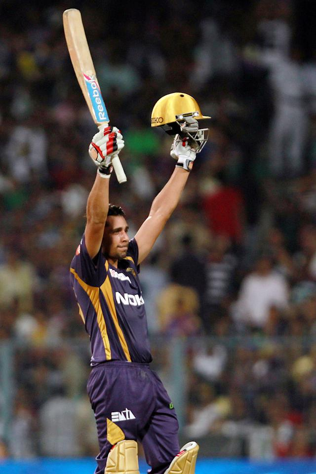 Manvinder Bisla celebrates his half century during match 35 of the Pepsi Indian Premier League between The Kolkata Knight Riders and the Kings XI Punjab held at the Eden Gardens Stadium in Kolkata on the 26th April 2013. (BCCI)