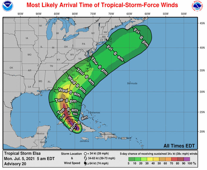 The Florida Keys can expect to start feeling the effects of Tropical Storm Elsa around 2 a.m. on Tuesday.