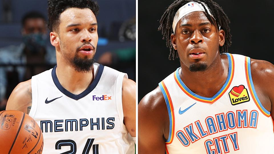 Memphis' Dillon Brooks and OKC's Lu Dort are two player who could be found on the waiver wire for immediate fantasy impact. Pictures: Getty Images