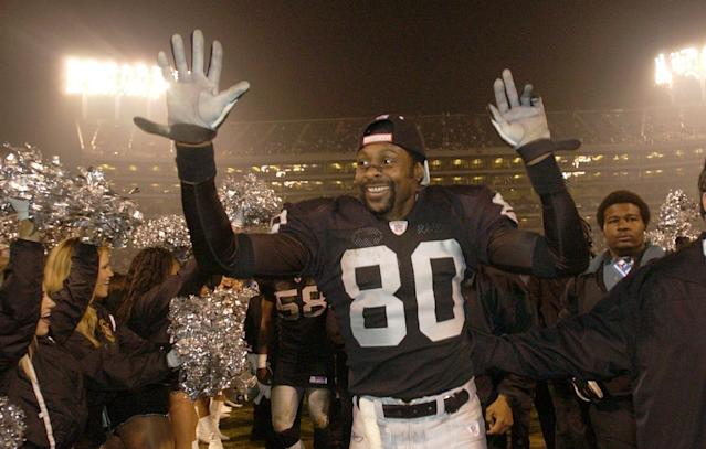 Jerry Rice accomplished the most with the San Francisco 49ers, but had stints with the Oakland Raiders, Seattle Seahawks and Denver Broncos. (AP)