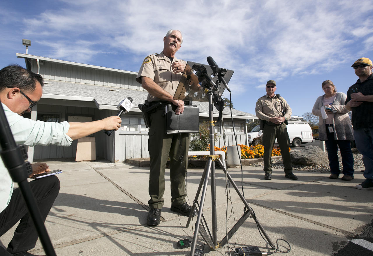 <p>Phil Johnston, the assistant sheriff for Tehama County, briefs reporters on the shootings near the Rancho Tehama Elementary School, Tuesday, Nov. 14, 2017, in Corning, Calif. Law enforcement says that five people, including the shooter were killed, and several people including some children were injured and taken to area hospitals. (AP Photo/Rich Pedroncelli) </p>