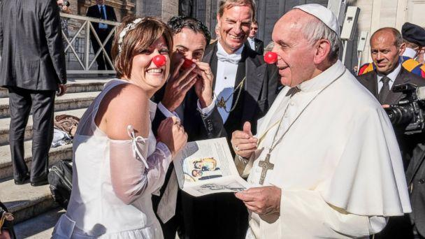 AL pope clown nose sr 131108 16x9 608 See Pope Francis Clown Around With Newlywed Couple