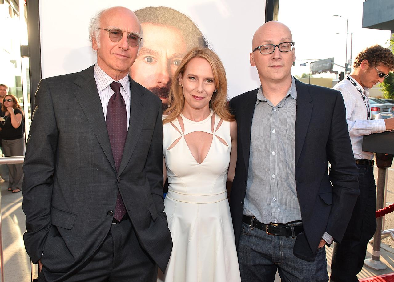 "Larry David, Amy Ryan, and director Greg Mottola arrive at the premiere of HBO Films' ""Clear History"" at ArcLight Cinemas Cinerama Dome on July 31, 2013 in Hollywood, California.o"