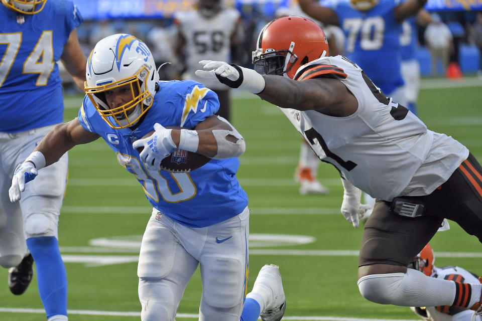 Los Angeles Chargers running back Austin Ekeler had a big day in a win over the Browns. (AP Photo/Kevork Djansezian)