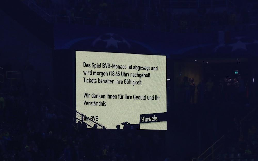 The scoreboard announces the postponment of the game prior to the UEFA Champions League Quarter Final first leg match between Borussia Dortmund and AS Monaco at Signal Iduna Park - Credit: Getty
