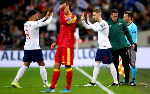 <span>Maddison came on for Alex Oxlade-Chamberlain to make his England debut in the 56th minute against Montenegro</span> <span>Credit: PA </span>