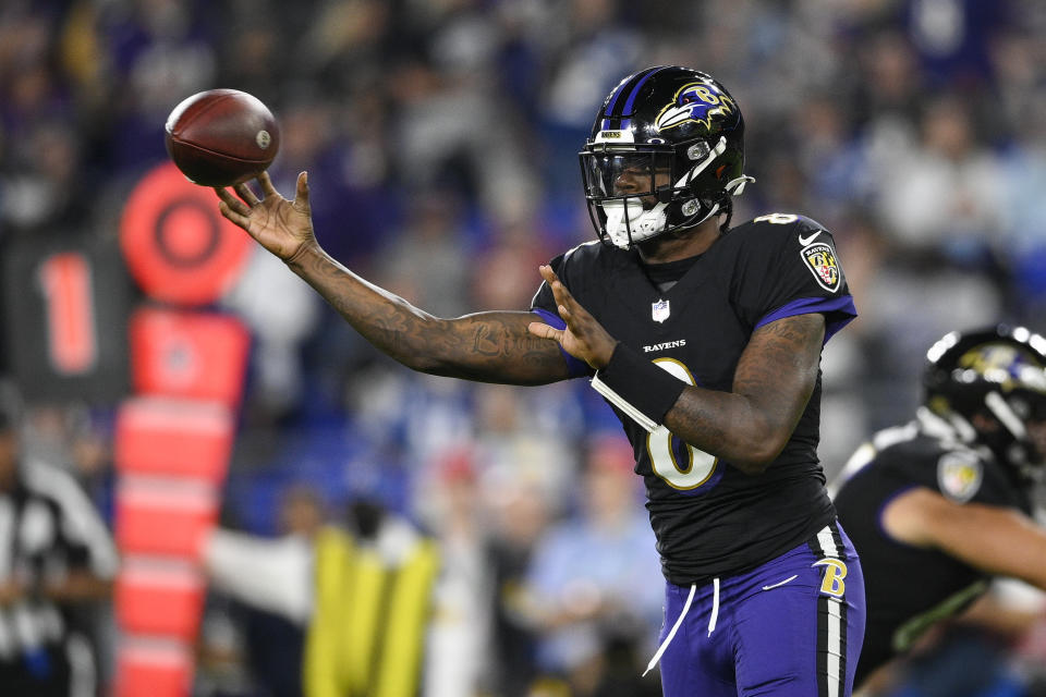 Baltimore Ravens quarterback Lamar Jackson (8) led a remarkable comeback in a win over the Colts. (AP Photo/Nick Wass)