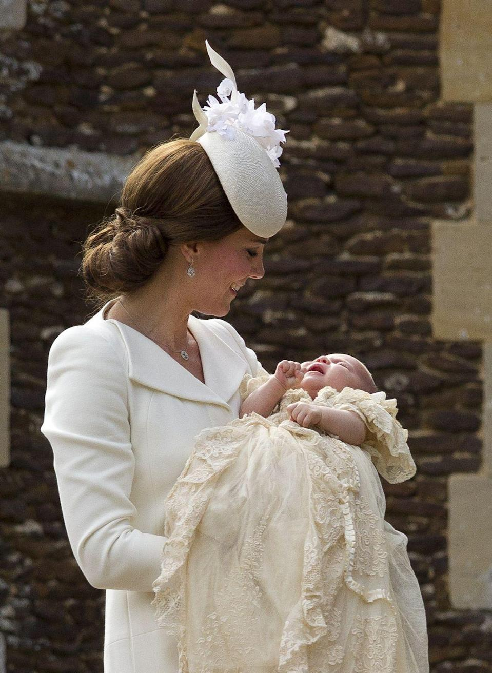 """<p>The palace broke with tradition again by announcing the news of the birth in a <a href=""""https://twitter.com/KensingtonRoyal/status/594443545118924800"""" rel=""""nofollow noopener"""" target=""""_blank"""" data-ylk=""""slk:tweet"""" class=""""link rapid-noclick-resp"""">tweet</a>: """"Her Royal Highness, The Duchess of Cambridge was safely delivered of a daughter at 8.34 a.m. Her Royal Highness and her child are both doing well.""""</p><p><em>Left: </em>The Duchess of Cambridge holds Princess Charlotte at her christening on July 5, 2015.<br></p><p>More: <a href=""""https://www.townandcountrymag.com/society/tradition/g9570478/princess-charlotte-photos-news/"""" rel=""""nofollow noopener"""" target=""""_blank"""" data-ylk=""""slk:Princess Charlotte's Cutest Moments"""" class=""""link rapid-noclick-resp"""">Princess Charlotte's Cutest Moments</a><br></p>"""