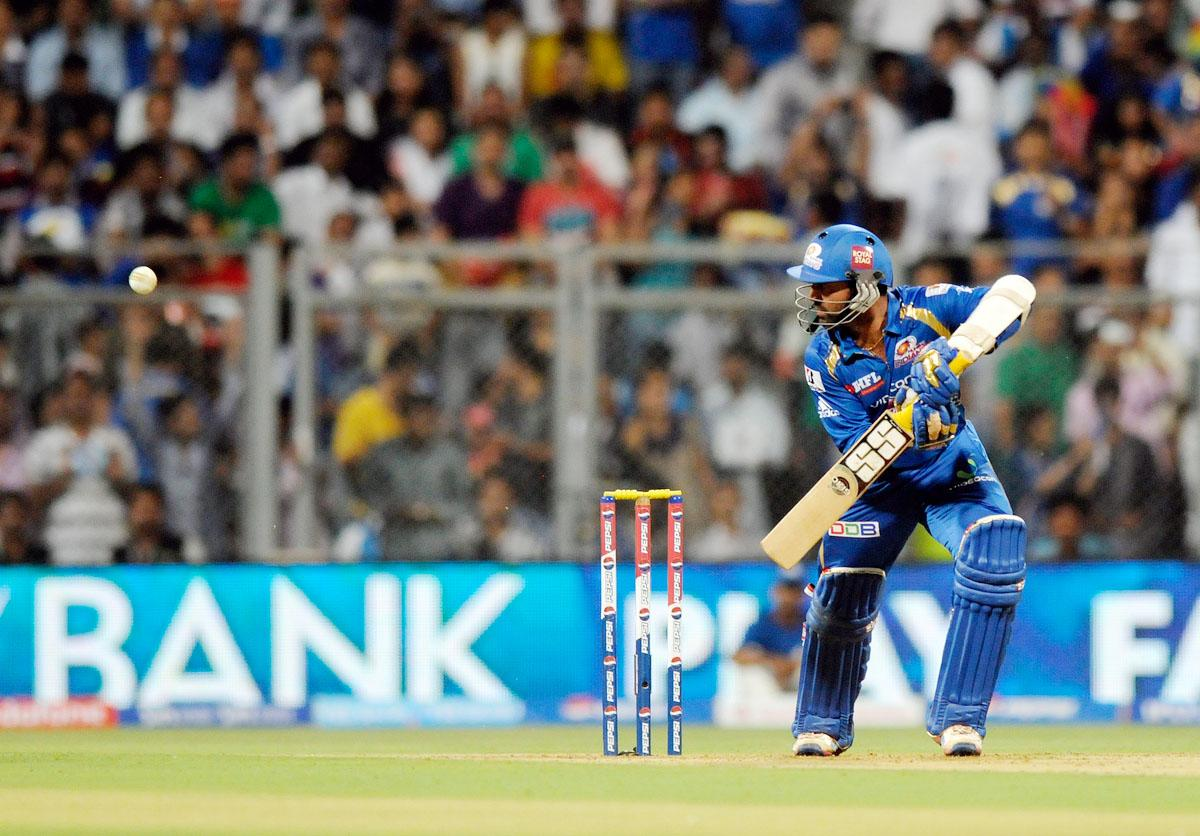 Dinesh Karthik of Mumbai Indians bats during match 37 of the Pepsi Indian Premier League ( IPL) 2013  between The Mumbai Indians and the Royal Challengers Bangalore held at the Wankhede Stadium in Mumbai on the 27th April 2013. (BCCI)