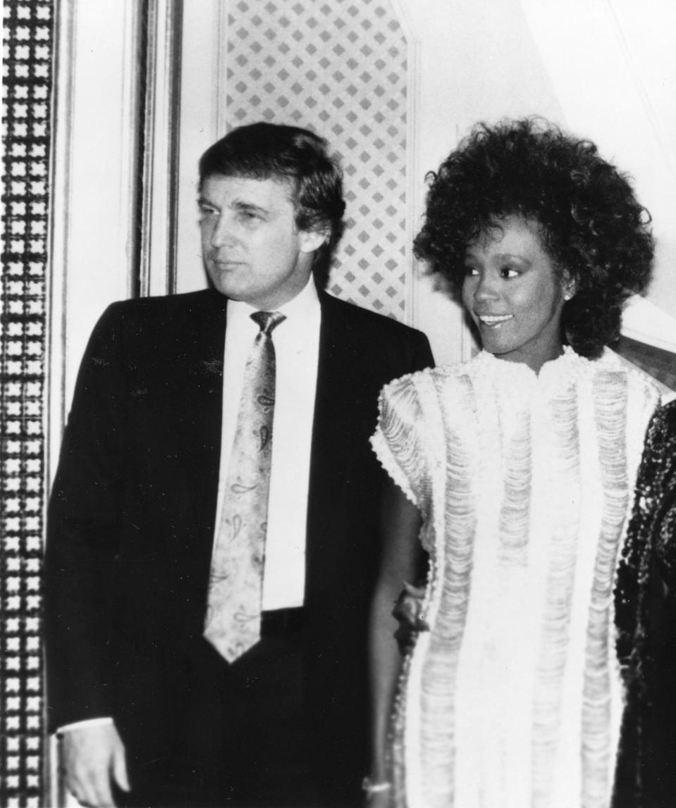 Donald Trump with Whitney Houston at Trump Plaza in Atlantic City in 1989. (Photo: Michael Ochs Archives/Getty Images)