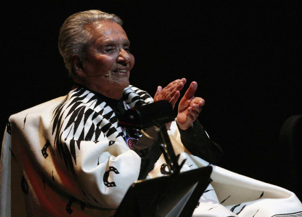 "Costa Rican singer Chavela Vargas claps during the launch of her record ""La Luna Grande"" at the Bellas Artes Palace in downtown Mexico City, in this April 15, 2012 file picture. Chavela Vargas has died at the age of 93, at a hospital on August 5, 2012 in Cuernavaca, according to local media. REUTERS/Bernardo Montoya/Files"