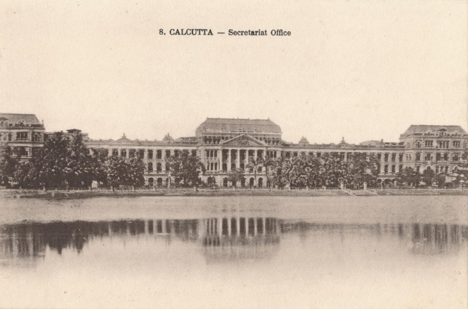 Calcutta - Secretariat Office', circa 1900. The Writers' Building is the secretariat building of the State Government of West Bengal, India. The building originally served as the office for writers of the British East India Company, designed by Thomas Lyon in 1777. [Art Union, Calcutta, circa 1900]. Artist: Unknown. (Photo by The Print Collector/Getty Images)