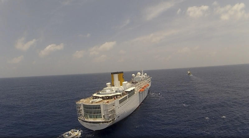 In this photo taken Tuesday, Feb. 28, 2012 by Zil Air and released by the Seychelles Office of the President, the Costa Allegra cruise ship is seen at sea near the Seychelles. Disabled by an engine fire, the cruise ship is being towed and should reach land Thursday, according to a spokesman for Costa Cruises. (AP Photo/Zil Air via Seychelles Office of the President)