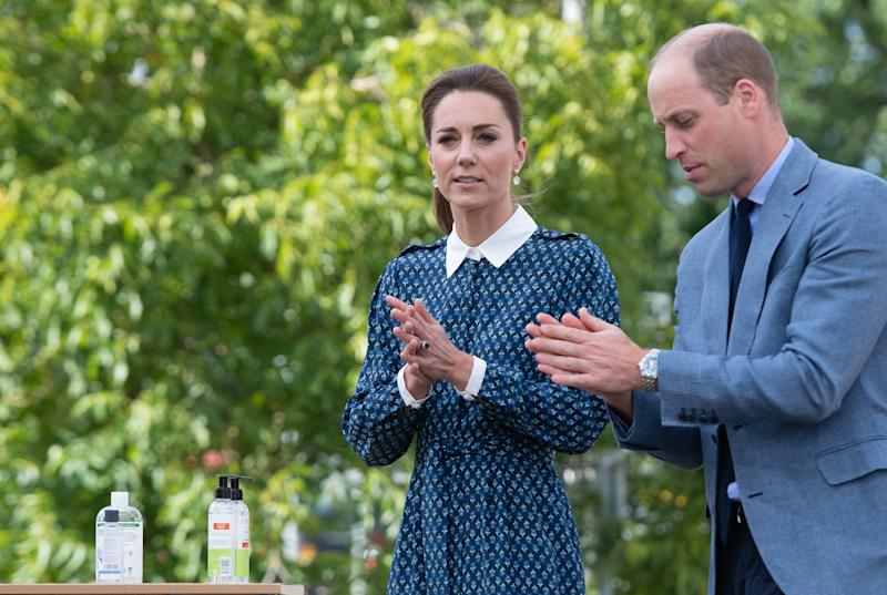 The Duke and Duchess of Cambridge apply hand sanitiser during a visit to Queen Elizabeth Hospital in King's Lynn as part of the NHS birthday celebrations.