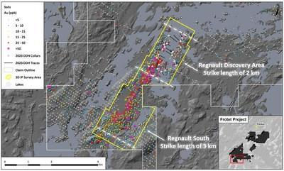 Figure 1. Map of the Regnault Area (CNW Group/Kenorland Minerals Ltd.)