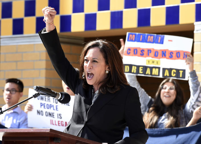"""<span class=""""s1""""> Sen. Kamala Harris attends a Dream Act rally in Irvine, Calif., in 2017. (Photo: Kevork Djansezian/Getty Images)</span>"""