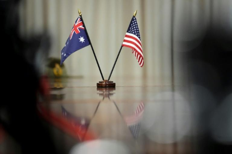 Australian and American flags on the table during a meeting between Scott Morrison and US Defense Secretary Lloyd Austin at the Pentagon last week (AFP/Drew Angerer)