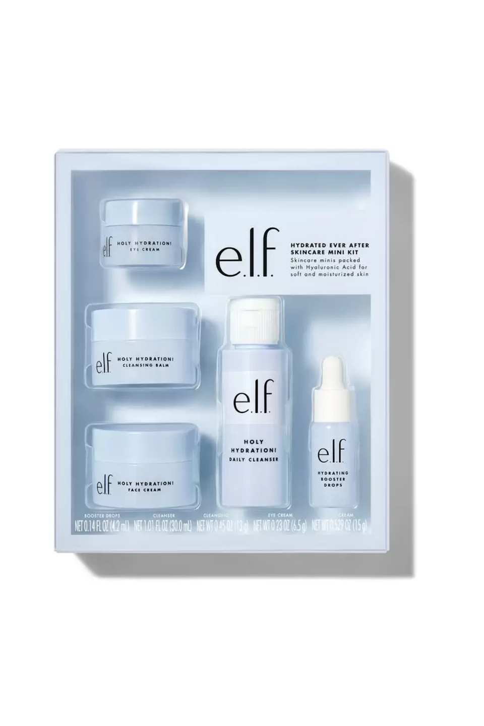 """<p><strong>e.l.f. Cosmetics</strong></p><p>ulta.com</p><p><strong>$20.00</strong></p><p><a href=""""https://go.redirectingat.com?id=74968X1596630&url=https%3A%2F%2Fwww.ulta.com%2Fp%2Fhydrated-ever-after-skincare-mini-kit-pimprod2021474&sref=https%3A%2F%2Fwww.seventeen.com%2Fbeauty%2Fmakeup-skincare%2Fg36866431%2Fbest-elf-makeup-skincare-products%2F"""" rel=""""nofollow noopener"""" target=""""_blank"""" data-ylk=""""slk:Shop Now"""" class=""""link rapid-noclick-resp"""">Shop Now</a></p><p>If you're looking to try out a ton of new skincare in one go, then this is the set for you. For just $20, you can snag some staples from E.L.F.'s Holy Hydration collection, including a daily cleanser, moisturizer, eye cream, cleansing balm and serum drops.</p>"""