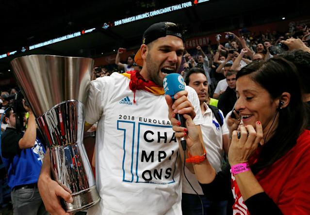 Basketball - Euroleague Final Four Final - Real Madrid vs Fenerbahce Dogus Istanbul - Stark Arena, Belgrade, Serbia - May 20, 2018 Real Madrid's Felipe Reyes celebrates after the match REUTERS/Alkis Konstantinidis