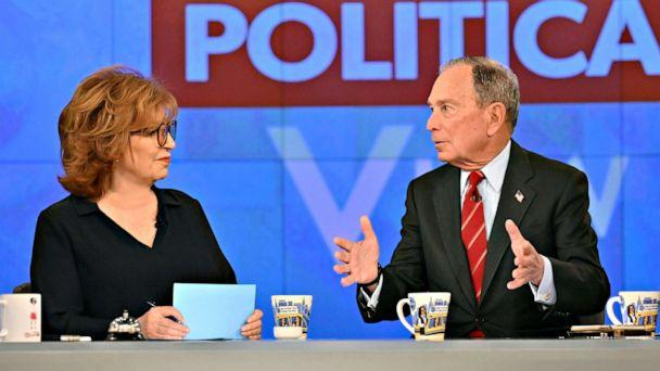PHOTO: Presidential candidate Michael Bloomberg discusses his unconventional campaign strategy on 'The View' as co-host Joy Behar listens, Jan. 15, 2020. (Jeff Neira/ABC)