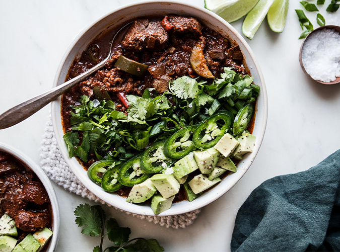 """<h2>2. Crock-Pot Paleo Chili</h2> <p>Fire up the slow cooker before Sunday errands, then come home to this delicious meal.</p> <p><a class=""""cta-button-link"""" href=""""https://themodernproper.com/posts/crockpot-paleo-chili"""" target=""""_blank"""">Get the recipe</a></p>"""