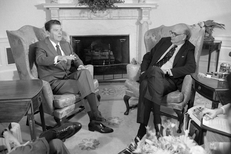 (Original Caption) Washington, D. C.: President Reagan talks with Federal Reserve Board Chairman Paul Volcker in the Oval office. Wall Street investors have expressed concern about the possible effects of the President's plan to cut tax rates across the board.