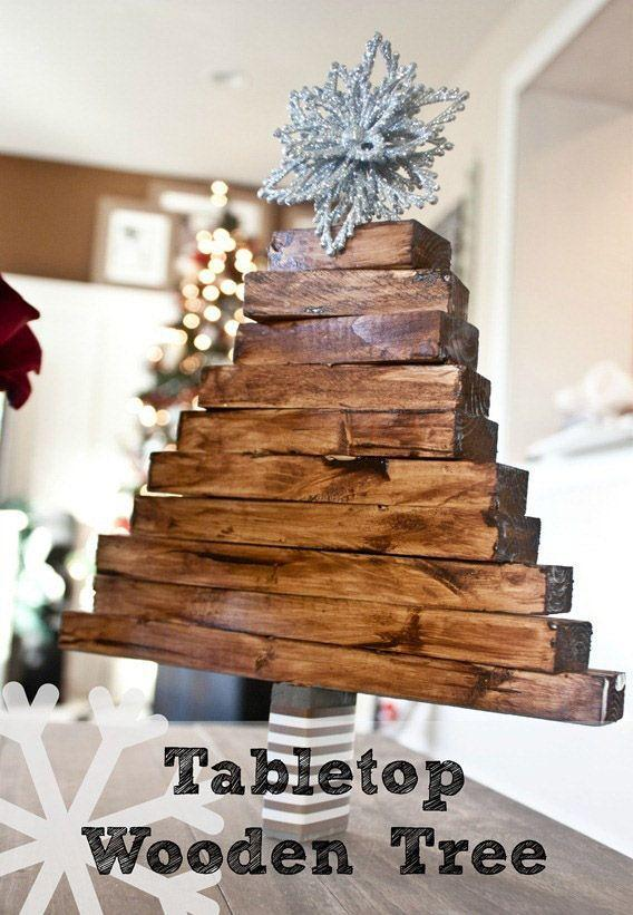"""<p>There's a reason it's so hard for you to get rid of leftover pieces of wood after a renovation — after all, it's bound to come in useful for <em>something.</em> When stained and stacked in a triangle shape, your leftover lumber becomes a rustic Christmas tree for your decoration collection — don't forget the silver star on top!</p><p><em><a href=""""http://justdestinymag.com/easy-christmas-craft-wooden-christmas-tree/"""" rel=""""nofollow noopener"""" target=""""_blank"""" data-ylk=""""slk:Get the tutorial at Just Destiny »"""" class=""""link rapid-noclick-resp"""">Get the tutorial at Just Destiny »</a></em></p>"""