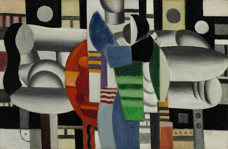 """This image provided by Sotheby's shows """"Three Women at the Red Table"""" by Fernand Leger which will be offered at Sotheby's sale of impressionist and modern art on May 7, 2013. Pop diva Madonna is parting with the abstract French painting she's owned for more than 20 years to support girls' education in Afghanistan, Pakistan and other countries. It's expected to bring $5 million to $7 million. All the proceeds will benefit the Ray of Light Foundation. It will be on view at the auction house's New York gallery beginning May 3. (AP Photo/Sotheby's)"""