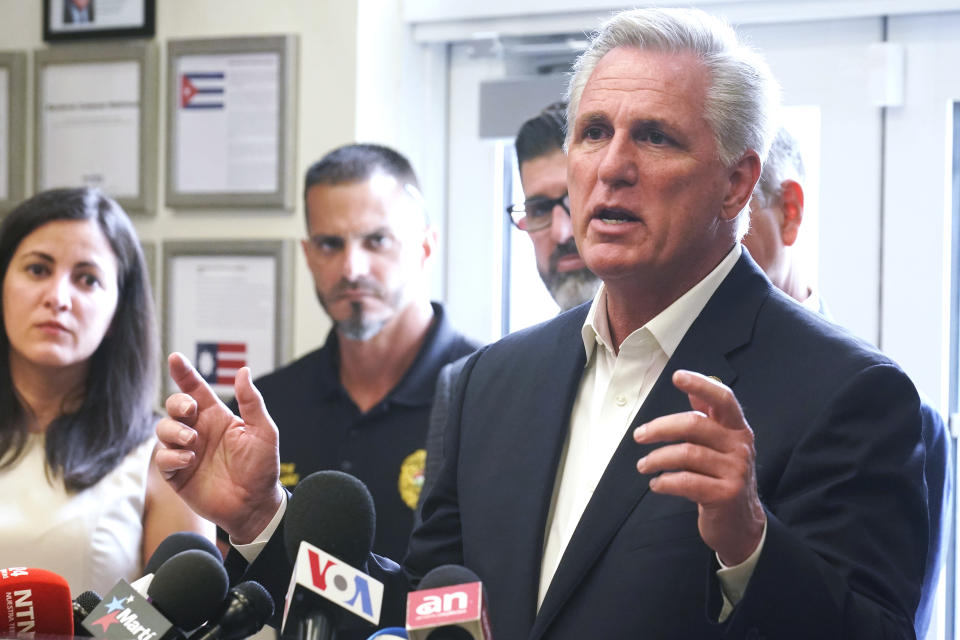 House Minority leader Kevin McCarthy speaks at a news conference related to Cuba, Thursday, Aug. 5, 2021, in Hialeah Gardens, Fla. McCarthy attended a meeting with GOP members of congress. (AP Photo/Marta Lavandier)