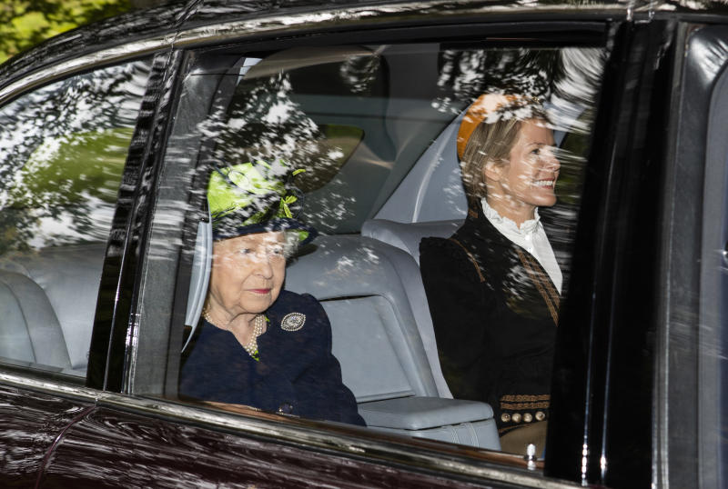 Queen Elizabeth II with Autumn Phillips arrives at Crathie Kirk to attend a Sunday church service near Balmoral where she is currently in residence. (Photo by Jane Barlow/PA Images via Getty Images)