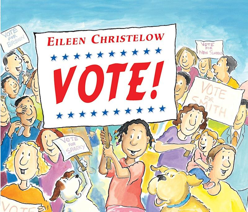 """From voting rights to campaigns to recounts, """"Vote!"""" covers many aspects of the democratic process. <i>(Available <a href=""""https://www.amazon.com/Vote-Eileen-Christelow/dp/0547059736"""" target=""""_blank"""" rel=""""noopener noreferrer"""">here</a>)</i>"""