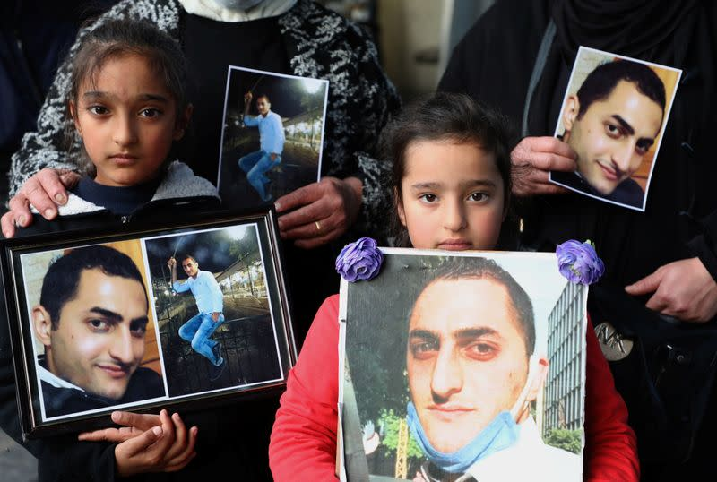 Families of some of the victims of the Aug. 4 explosion at Beirut port protest in Beirut