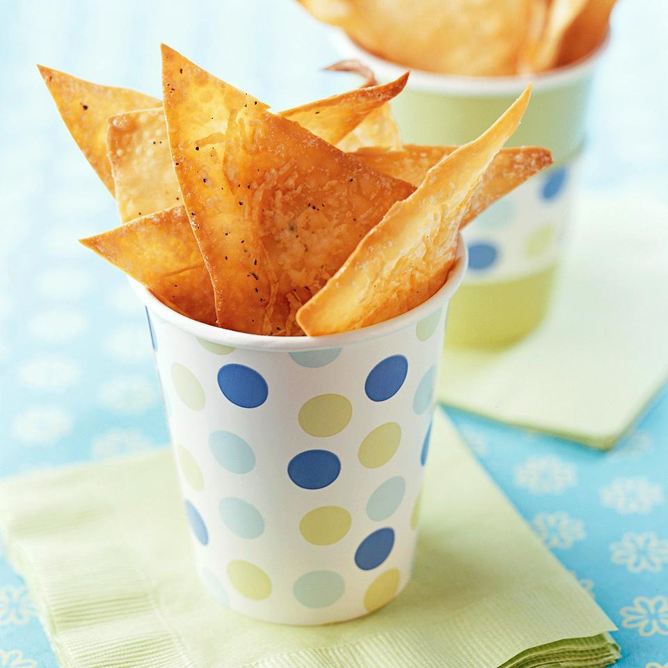 <p>These homemade chips have lots of Parmesan cheese baked on top so there's no need for high-calorie dip.</p>