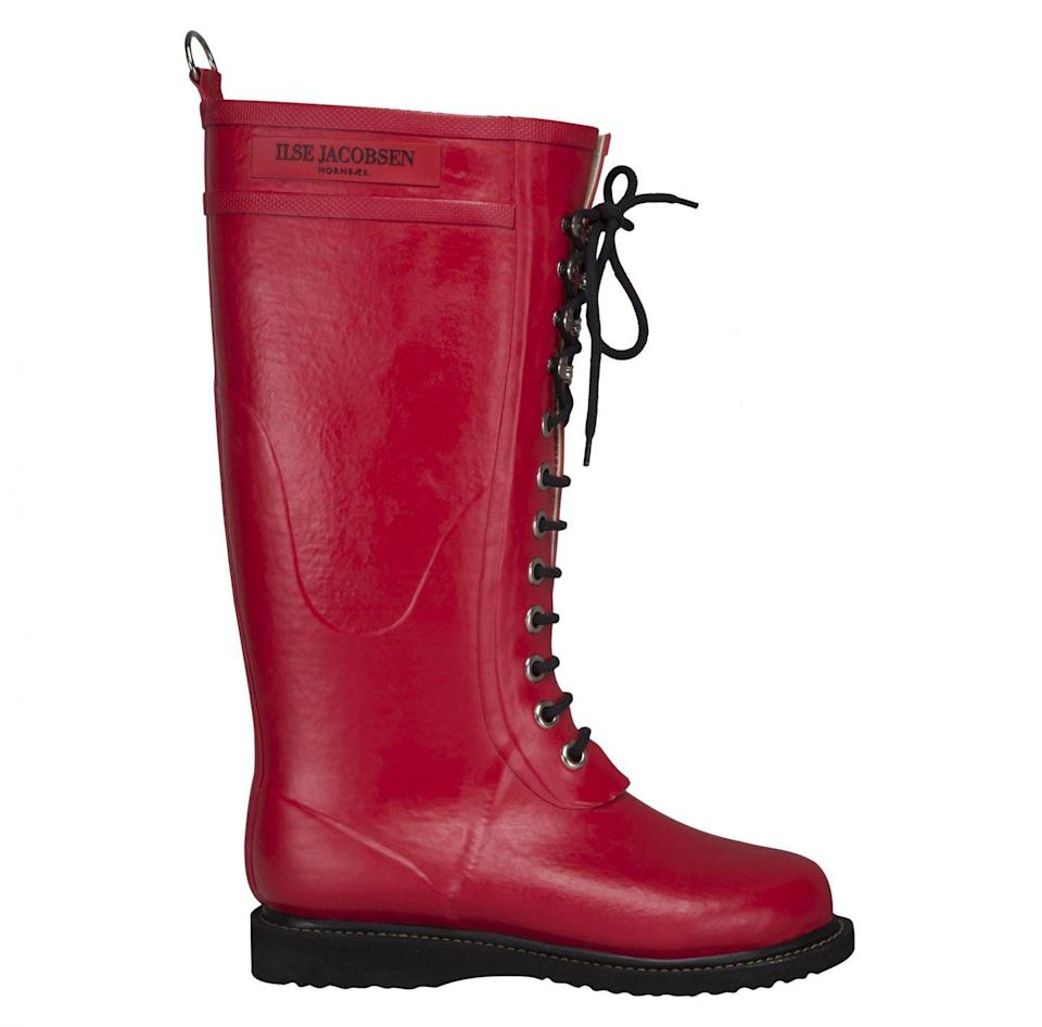 """<p><a class=""""link rapid-noclick-resp"""" href=""""https://www.ilsejacobsen.com/gb/en/wellington/wellies/long-wellies/10+RUB1.303.html?master=10+RUB1.LS34.660"""" rel=""""nofollow noopener"""" target=""""_blank"""" data-ylk=""""slk:SHOP NOW"""">SHOP NOW</a></p><p>Made in Scandinavia by Danish designer Ilse Jacobsen, you can bet these wellies are made with extreme weather in mind. Created using sustainably harvested rubber, pair with a midi print dress, wool tights and a tailored coat for a perfect weekend-around-town look. </p><p>Red long rubber boot, £140, <a href=""""https://www.ilsejacobsen.com/gb/en/wellington/wellies/long-wellies/10+RUB1.303.html?master=10%20RUB1.LS34.660"""" rel=""""nofollow noopener"""" target=""""_blank"""" data-ylk=""""slk:Ilse Jacobsen"""" class=""""link rapid-noclick-resp"""">Ilse Jacobsen</a></p>"""