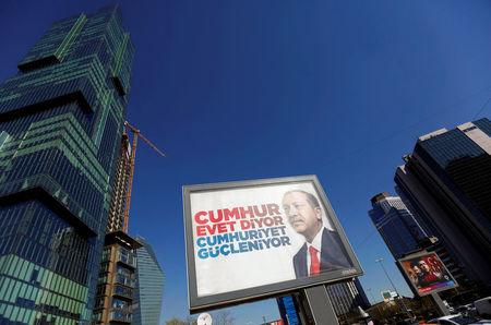 A billboard carrying a picture of Turkish President Erdogan is pictured in Istanbul