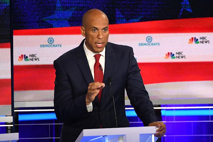 Democratic presidential hopeful US Senator from New Jersey Cory Booker participates in the first Democratic primary debate of the 2020 presidential campaign season hosted by NBC News at the Adrienne Arsht Center for the Performing Arts in Miami, Florida, June 26, 2019.   Jim Watson—AFP/Getty Images